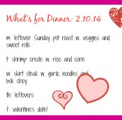 Dinner This Week: Pot Roast, Shrimp Creole and Skirt Steak + Valentine's Day <3